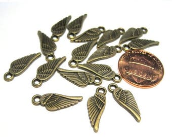 50% OFF Clearance Sale-- Antique Bronze Small Wing Charms Pendants Double Sided
