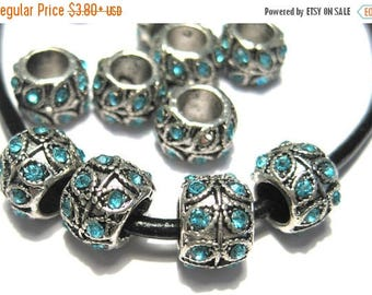 50% OFF Clearance Sale-- Antique Silver Large Hole European Rondelle Spacer Beads With Blue Rhinestones