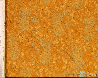 "Bright Yellow Flower Stretch Lace Fabric 4 Way Stretch Nylon 60-62"" 151114"