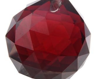 Red Feng Shui Large Crystal Ball Prism Pendant Suncatcher 40 mm For Attracting Positive Energy, Project Crystal Ball For Attachment Parts
