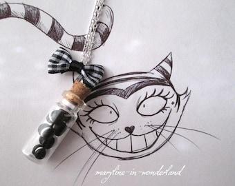 Black licorice macaron fimo vial necklace