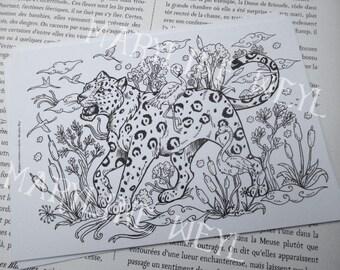 coloring postcard coloring Panther