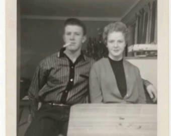 Vintage 1950s B&W Snapshot Photo Rockabilly Couple Smoking