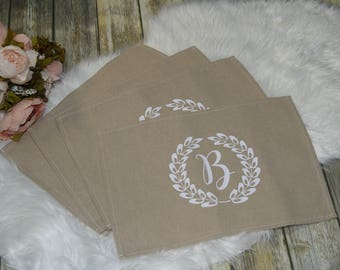 set of 4 personalized placemats, personalized placemats, wedding shower gift, table placemats,