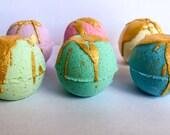 Gold Glitter Bath Bomb ~ Glitter Bath Fizzy ~ Natural Bath Bomb ~ Organic Bath Bomb ~ Painted Bath Fizzies ~ Birthday Gift ~ Handmade Gift