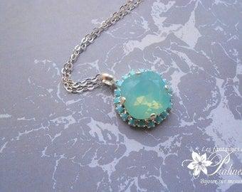 Necklace wedding Byzantine crystal blue sky opal, timeless jewelry, wedding jewelry, witnesses bridesmaids jewelry