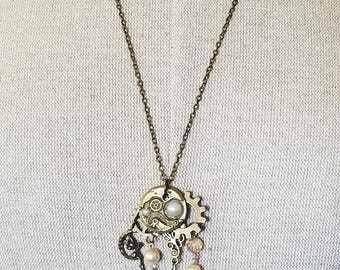 Steampunk Necklace, Steampunk Pendant, Bronze Pendant with Charms, Steampunk and Pearls