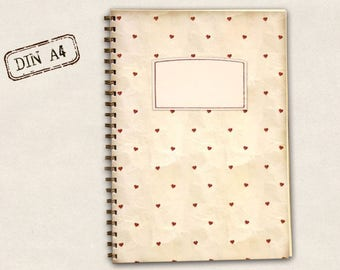 DIN A4 notebook - small heart