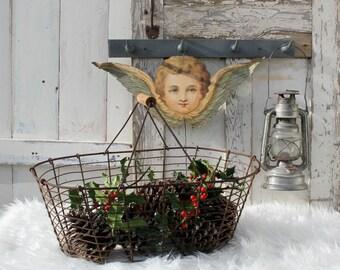 Vintage Wire Basket / French / Vintage / Wire Basket / Metal Basket / Vintage Garden / Kitchen Garden / Potato Basket / Garden Basket