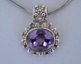 Vintage Faceted Amethyst / Sterling Silver Pendant / Chain
