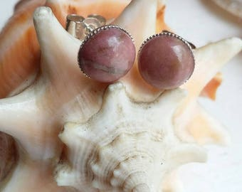 Sterling Silver Dusky Pink Rhodonite Bezel Cup Post Stud Earrings
