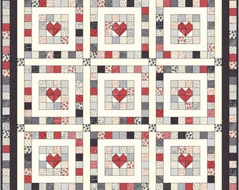 "From the Heart Quilt Pattern - Jelly Roll Friendly - 65"" x 65"" - Designed by Gwen Sager - Quilt Patterns - PDF Instant Download"