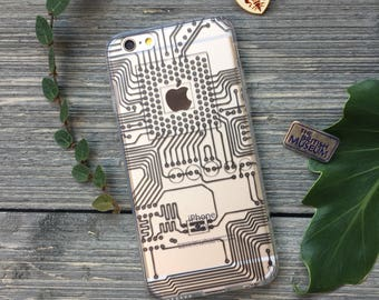 Circuits iPhone Case, Your choice of Soft Plastic (TPU), Hard Plastic, or Wood