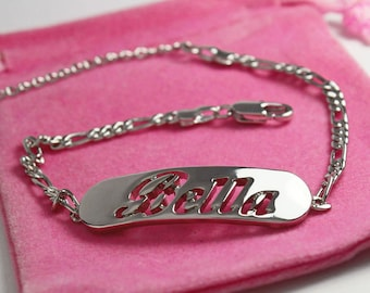 "Name Bracelet BELLA - Personalised Bracelet. 10"" Figaro Chain with Gift Box and Gift Bag."
