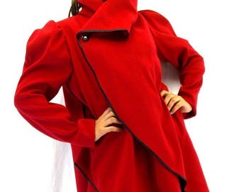 SALE 40% OFF Red Asymmetrical Extravagant Coat / Wool Plus Size Jacket / Red Cashmere Coat Jacket TC18