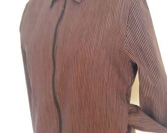 Vintage Women Mika Piirainen-Marimekko Cotton Brown/Black Stripped Jacket