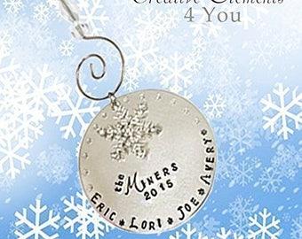 Bling Chicks 2017 Personalized Family Name Christmas Ornament  Custom Holiday Keepsake Ornament  Snowflake Ornament  Christmas Decoration