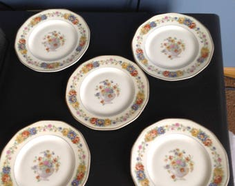 "Theo Haviland Limoges Azay Le Rideau salad plates 7 1/2"" Set of five"