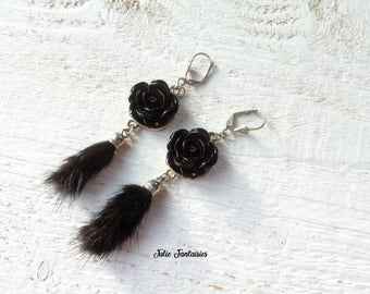 Long flower resin earrings * tassel