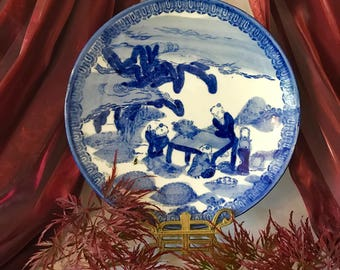 on sale antique Chinese Qing dynasty plate 中国清代板块 porcelain figures plate underglaze blue and white 1800's antique collectible