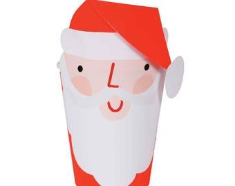 Santa Paper Cups, Meri Meri Christmas Party Cups, Xmas Cups, Kids Christmas Table Decorations, Santa Decor, Holiday Cups