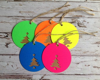 Set of 5 Christmas tags, Neon gift tags, large circle tags, tags and twine, Fluorescent Christmas tags