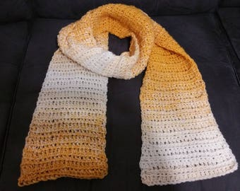 Crochet winter scarf -  mustard and beige