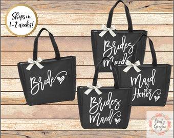 Personalized Bridal Tote Bag, Bridesmaid Tote Bag, Maid of Honor Tote Bag, Monogrammed Tote Bag (SPB01)