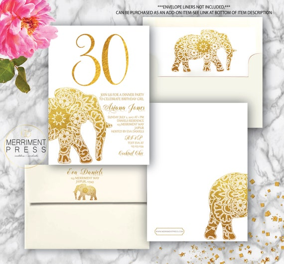 Indian Themed 30th Birthday Invitation Bollywood Elephant