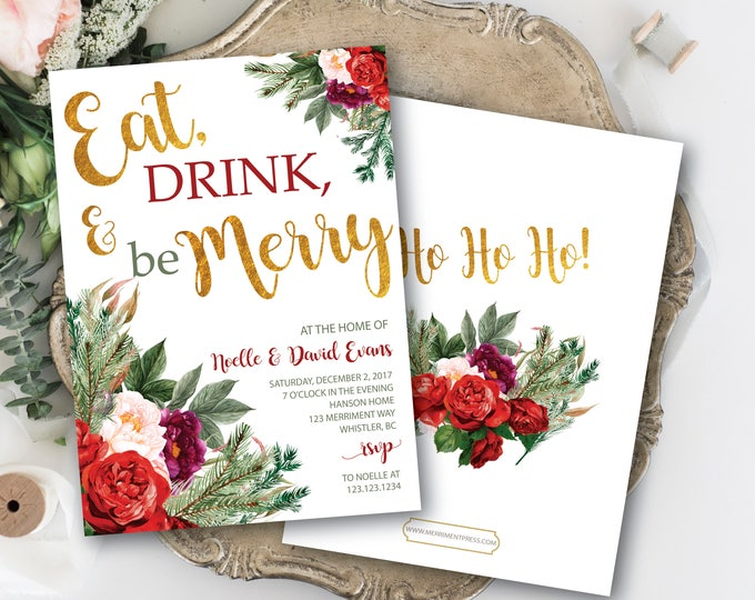 Christmas Party Invitation // Red // Green // Burgundy // Eat, Drink, be Merry // Holiday // Gold // Greenery // WHISTLER COLLECTION
