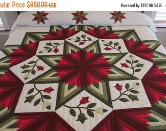 ON SALE: Embellished Broken Star Quilt, Amish Quilt, Star Quilt, Patchwork Quilt, Appliqued Quilt, Queen Size Quilt, Red Green Quilt, Hand M