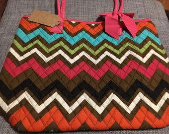 Quilted chevron tote bag personalized