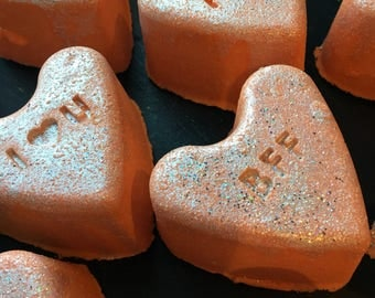 Darling. Conversation Heart Bath Bomb. Amber Chocolate. Epsom Salt. Made in Utah