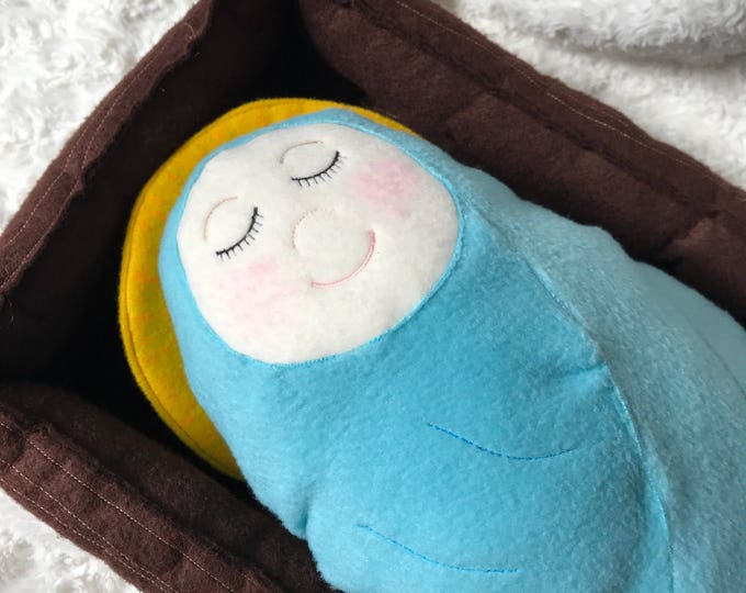 Baby Jesus with Manger Handmade Soft Saint Dolls,  Baby Jesus Manger, Soft and Perfect for little ones to Snuggle with.