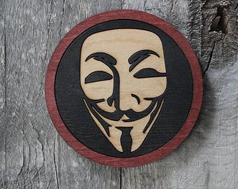 V Wood Coaster | Rustic/Vintage | Hand Stained and Glued | Comic Book Gift | V for Vendetta