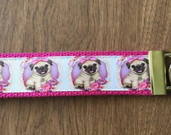Pug Key Chain Wristlet Zipper Pull