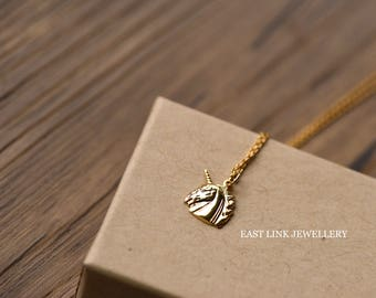 14K gold plated dedicated mini unicorn necklace pendant necklace by East Link jewellery design