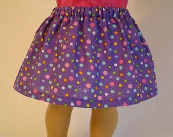 Purple Polka Dot Skirt for American Girl Doll and 18-inch Dolls - Doll Purple Skirt