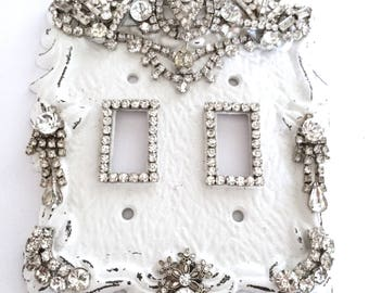 light switch cover light switch plate  rhinestone decorated light switch cover  white cast iron light switch cover  cottage chic light plate