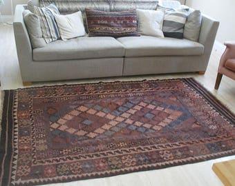 Vintage wool kilim rug, hand woven