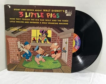 Walt Disney 3 Little Pigs vinyl record 1967 Sterling Holloway with Camarata Disneyland Records Children Kids Story VG+