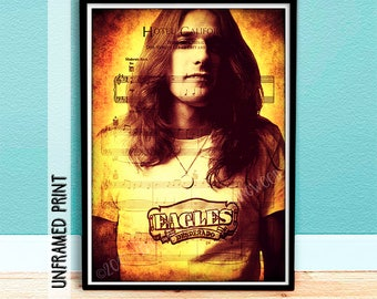 Glenn Frey Poster - Music Art - Christmas in July - Gift for Him - Gift for Her - Hotel California Sheet Music Page Art - The Eagles Band