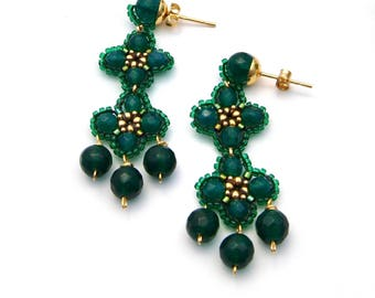 Shaded Spruce Color Earrings Green Agate Beaded Earrings Gold and Emerald Green Seed Beads Dangle Earrings Women Gift Anniversary present