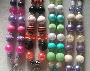 Personal Initial  (you pick) Bubble Gum Bead Necklace *each