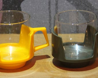 Vintage Pyrex Glass Cups with Bright Colour Plastic Holders - Drink-Ups - 2  Colourful Retro Mugs - Colourful Kitchen