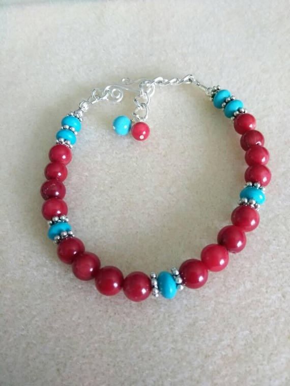 Red Coral and Magnesite Stretch Bracelet B61517110