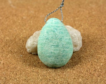 Amazonite Matte Teardrop Pendant - Teal and White Top Drilled Bead