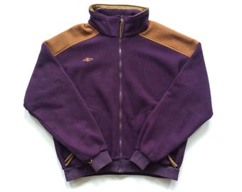 90s Retro Columbia fleece sweater size xl mens radial Sleeve actovewear polyester top beef and broccoli purple brown DS