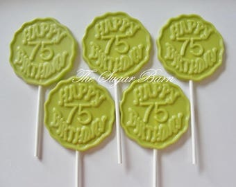 75th BIRTHDAY CHOCOLATE Lollipops*12 Count*75 Years*75 Party Favors*Surprise Birthday Party Favor*Number 75*Chocolate Favor*Birthday Gift