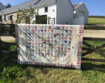 Patchwork quilt for double bed with Liberty Tana Lawn fabrics